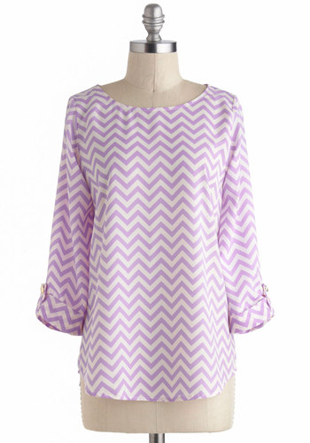 Zoom Bisou Top in Zigzag - Purple, White, Casual, 3/4 Sleeve, Chevron, Pastel, Purple, Tab Sleeve, Mid-length
