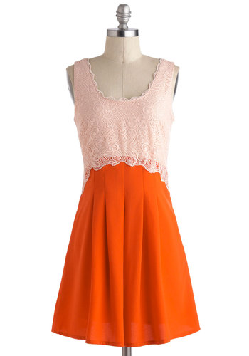 Perfect Date Dress - Mid-length, Orange, Tan / Cream, Lace, Pleats, Daytime Party, A-line, Tank top (2 thick straps), Scoop