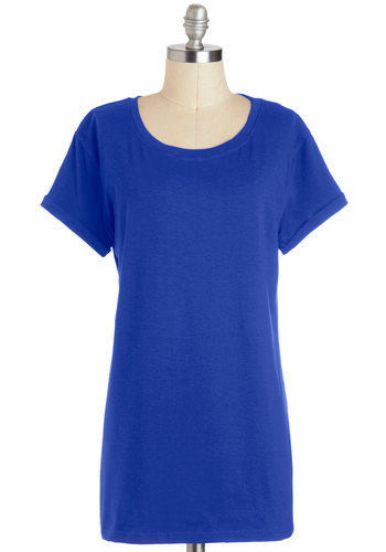Simplicity on a Saturday Top in Cobalt - Long, Blue, Solid, Casual, Short Sleeves, Minimal, Crew, Variation, Travel, Basic