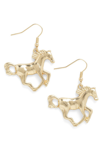 Colt Your Horses Earrings - Gold, Print with Animals, Casual