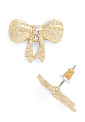 Bow My Darlin' Earrings - Gold, Solid, Bows, Rhinestones, Vintage Inspired, 50s, Bridesmaid