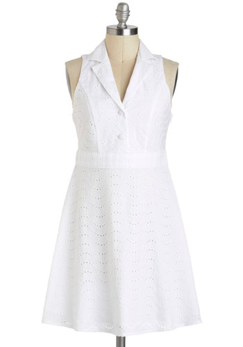 Clean Slate Dress - White, Solid, Eyelet, Casual, Vintage Inspired, A-line, Cotton, Short, Buttons, Collared, Graduation, Summer