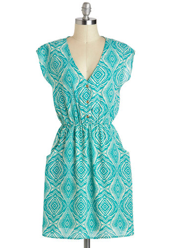 Urban Oasis Dress - Mid-length, Blue, White, Print, Buttons, Pockets, Casual, A-line, Cap Sleeves, V Neck, Summer