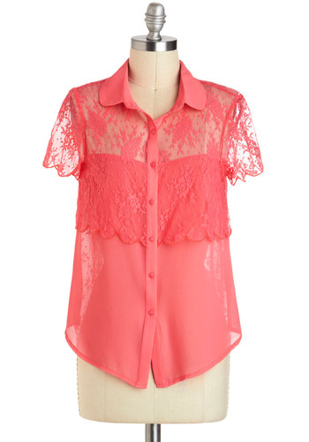 Everyone's Sweetheart Top - Pink, Solid, Buttons, Lace, Short Sleeves, Mid-length, Casual, Button Down, Sheer, Collared, Summer