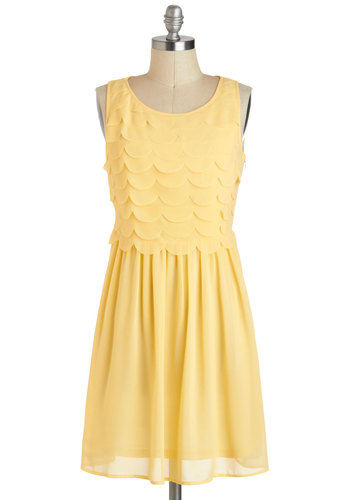 Goldi-frocks Dress - Yellow, Solid, Scallops, Daytime Party, A-line, Tank top (2 thick straps), Short, Scoop, Pastel, Summer
