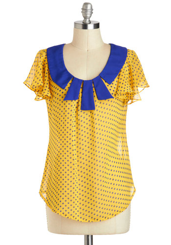 Whole Dot of Fun Top - Yellow, Blue, Polka Dots, Work, Vintage Inspired, Short Sleeves, Sheer, Mid-length, Casual, Scoop, Summer