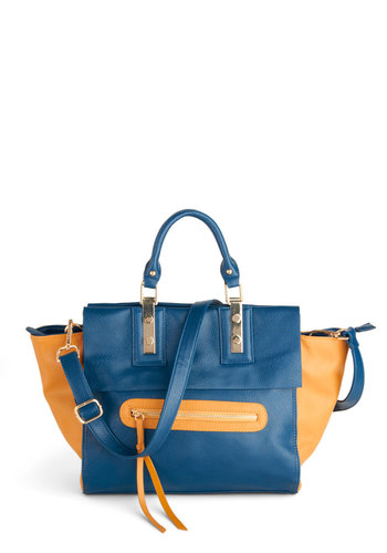 Bold Beginning Bag - Yellow, Blue, Solid, Tassels, Colorblocking, Faux Leather, Casual