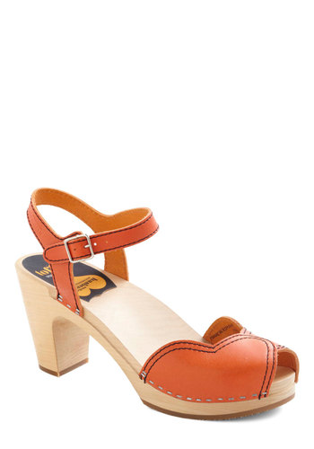 Mary's Savor Every Step Heel by Swedish Hasbeens - Orange, Solid, Mid, Peep Toe, Chunky heel, Leather, International Designer, Casual, 70s, Eco-Friendly, Folk Art