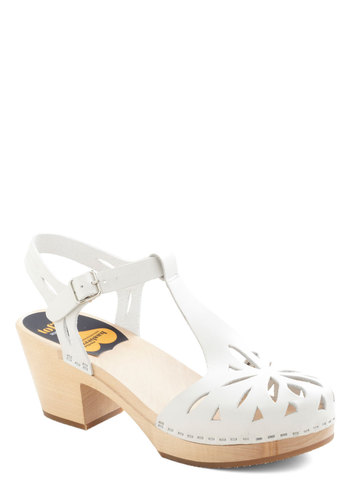 Cutout for Anything Heel by Swedish Hasbeens - White, Solid, Cutout, Mid, Chunky heel, Leather, International Designer, Daytime Party, Vintage Inspired, Eco-Friendly