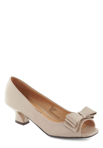 Set the Curve Heel in Chalk - Tan, Solid, Bows, Work, Low, Mid, Peep Toe, Party, Vintage Inspired, Graduation, 50s