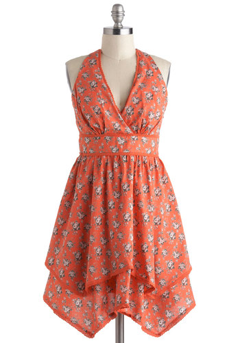 Roseate Tendencies Dress - Cotton, Mid-length, Orange, Multi, Floral, Handkerchief, Casual, A-line, Halter, V Neck, Boho, Vintage Inspired, Summer