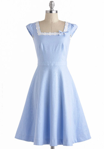 Day on the Breezeway Dress - Long, Blue, White, Solid, Bows, Embroidery, Daytime Party, Fit & Flare, Cap Sleeves, Vintage Inspired, 50s, Top Rated