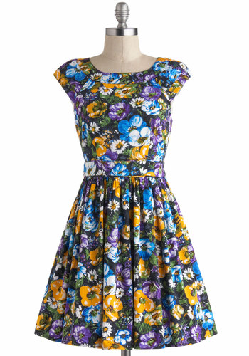 Chilly Night's Charm Dress - Multi, Floral, Pleats, Casual, A-line, Cap Sleeves, Short, Daytime Party