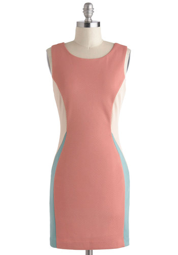 Cocktails on the Coast Dress - Short, Pink, Blue, Tan / Cream, Solid, Shift, Tank top (2 thick straps), Party, Girls Night Out, Pastel