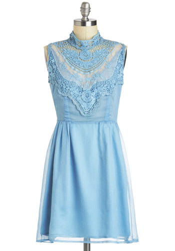Under the Open Sky Dress - Blue, Solid, Backless, Crochet, Lace, A-line, Sleeveless, Spring, Pastel, Cotton, Mid-length, Party, Daytime Party, Vintage Inspired, French / Victorian