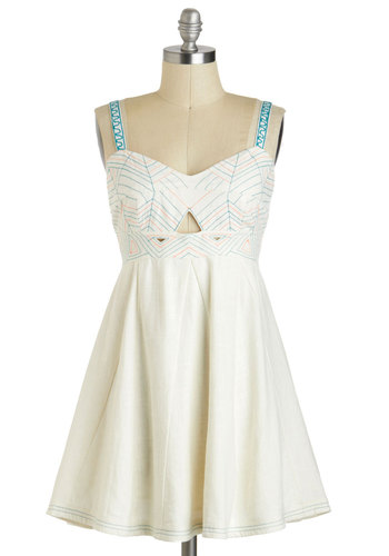 Sunroom with a View Dress - Cream, Blue, Cutout, Embroidery, Casual, Empire, Short, Solid, Spaghetti Straps