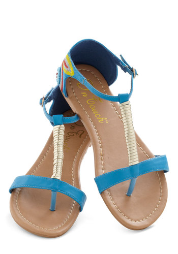 Raise the Barcelona Sandal - Blue, Multi, Solid, Beads, Embroidery, Flat, Casual, Boho, Summer, Travel