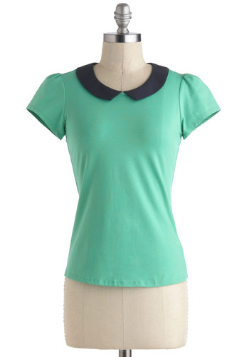 Jade Your Day Top - Green, Black, Solid, Peter Pan Collar, Work, Short Sleeves, Collared, Short, Vintage Inspired, 60s, Pinup, Green, Short Sleeve
