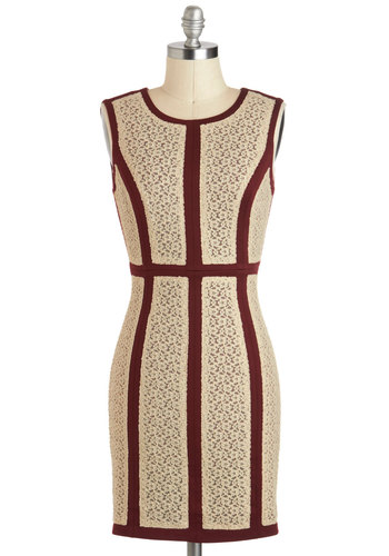 In Border of Appearance Dress - Cream, Red, Lace, Sheath / Shift, Sleeveless, Short, Cutout, Party, Backless