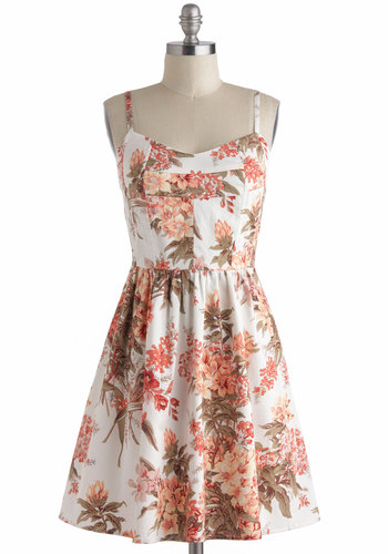 Lots of Lovely Dress - Cotton, Mid-length, Floral, A-line, Spaghetti Straps, Daytime Party, Spring, Summer, Beach/Resort, Graduation, Multi