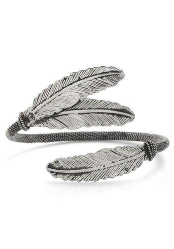 Plume for Growth Bracelet - Silver, Solid, Boho, Silver