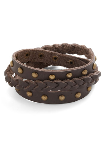 Rustic Roots Bracelet - Brown, Solid, Braided, Studs, Casual, Boho, Rustic, Faux Leather