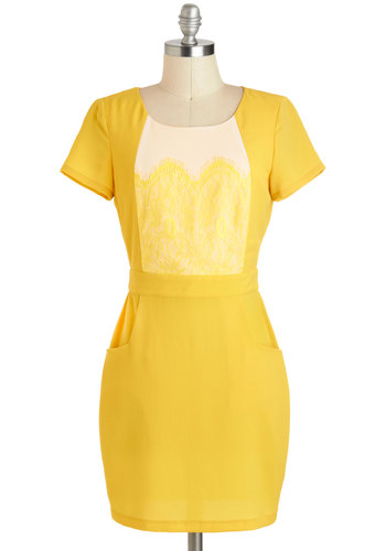 Sunshine by Me Dress - Short, Yellow, Tan / Cream, Backless, Lace, Pockets, Shift, Short Sleeves, Scoop, Party, Girls Night Out
