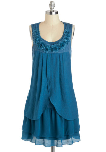 Drifting Tenderly Dress - Mid-length, Blue, Solid, Flower, Ruffles, Party, Sack, Sleeveless, Daytime Party, Boho, Scoop, Tiered, Summer