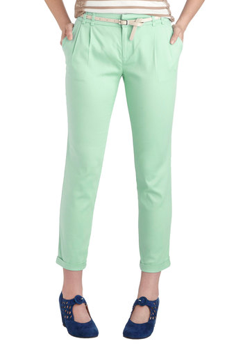 New Slack Swing Pants in Mint - Mint, Solid, Pleats, Belted, Work, Pastel, Casual, Cotton, Pockets, Variation