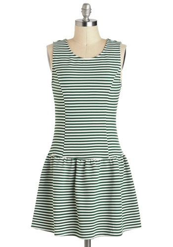 Boston Uncommon Dress - Short, Green, White, Stripes, Ruffles, Casual, Mini, Tank top (2 thick straps), Scoop, Nautical, 20s