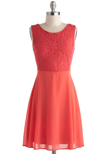 Capri Sunset Dress - Mid-length, Red, Solid, Backless, Lace, Party, A-line, Sleeveless