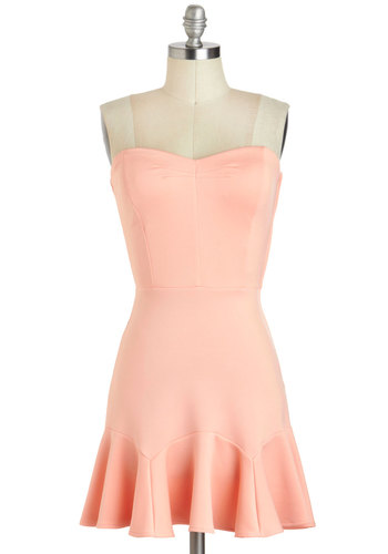 Dessert Tasting Dress - Short, Pink, Solid, Ruffles, Party, A-line, Strapless, Sweetheart, Pastel, Summer, Prom