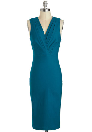 The World Is Yours Dress - Long, Blue, Solid, Cocktail, Sheath / Shift, Tank top (2 thick straps), V Neck, Pleats, Party, Pinup