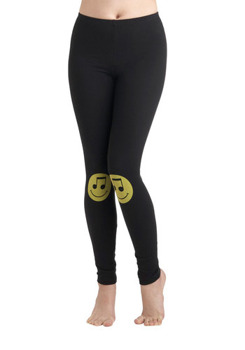Don't Worry, Knee Happy Leggings - Cotton, Black, Yellow, Casual, Quirky, Skinny, Novelty Print, Vintage Inspired, 90s, Music, Travel