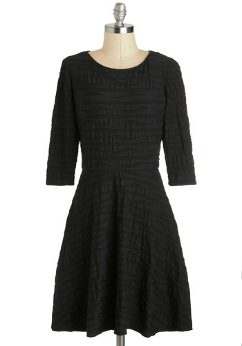 Elegant Undulance Dress in Navy - Mid-length, Blue, Solid, Party, A-line, 3/4 Sleeve, Vintage Inspired, Work, Cocktail