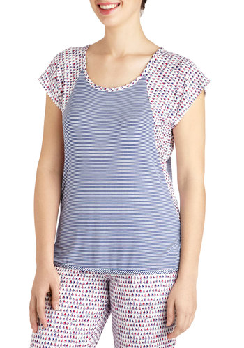 Along We Go Sleep Top - Blue, Multi, Stripes, Nautical, Novelty Print, Cutout, Casual