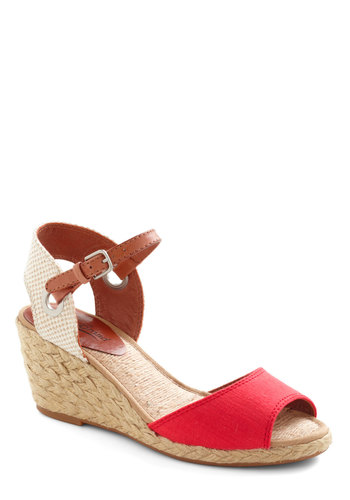 Starboard Side by Side Wedge by Lucky - Red, Tan / Cream, Solid, Braided, Wedge, Espadrille, Peep Toe, Mid, Beach/Resort, Summer