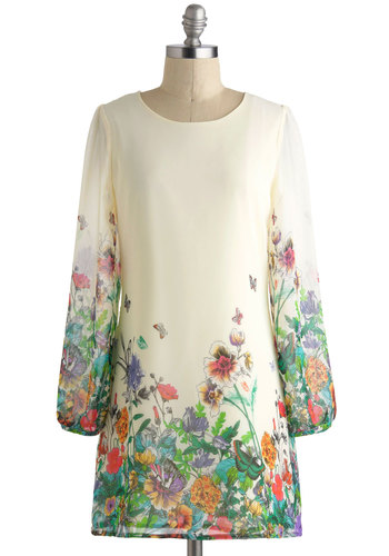 Florescent Femme Dress by Yumi - Mid-length, Cream, Multi, Floral, Daytime Party, Sack, Long Sleeve, Scoop, Graduation