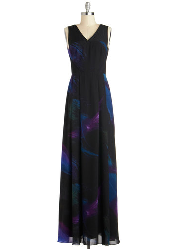 Aurora Applause Dress - Sheer, Long, Black, Blue, Purple, Print, Pleats, Formal, Prom, Empire, Maxi, Tank top (2 thick straps), V Neck, Party, Cocktail, Luxe