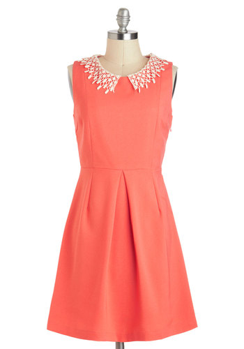 You Guava Stop By Dress - Mid-length, Coral, Tan / Cream, Solid, Crochet, Peter Pan Collar, Work, A-line, Sleeveless, Collared, Vintage Inspired