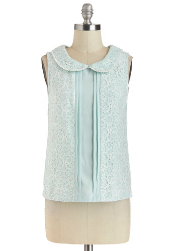 Dew I Ever Top by Yumi - Green, Solid, Beads, Lace, Peter Pan Collar, Party, Sleeveless, Short, Daytime Party, Vintage Inspired, Pastel