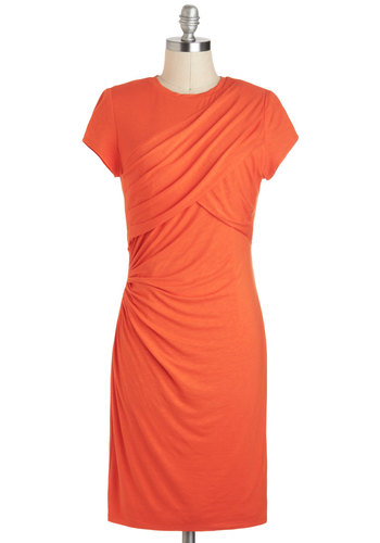 Raechel's Sashay Fierce Dress - Mid-length, Solid, Ruching, Party, Shift, Short Sleeves, Crew, Minimal, Orange, Work