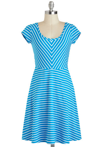 Out Of The Clear Blue Sky Dress - Mid-length, Blue, White, Stripes, Casual, A-line, Short Sleeves, Scoop, Summer, Chevron, Travel