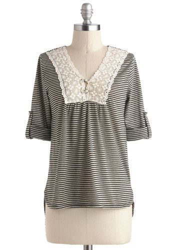 Salt and Peppy top - Multi, Black, Stripes, Casual, Mid-length, Grey, Buttons, Crochet, French / Victorian, 3/4 Sleeve, V Neck, Travel