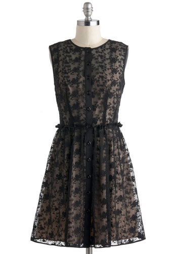 You Know The Tendril Dress - Black, Tan / Cream, Buttons, Lace, A-line, Sleeveless, Sheer, Mid-length, Party, Button Down, Crew, Floral, Vintage Inspired, French / Victorian, Prom