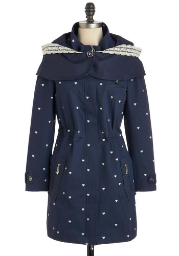 Shiver Me Timeless Coat - Blue, White, Print, Pockets, Casual, Hoodie, Long Sleeve, 2, Spring, Fall, Cotton, Long, Winter, Woven