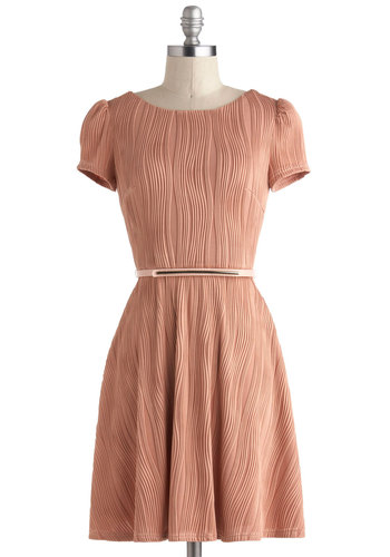 Primary Texture Dress - Solid, Belted, A-line, Mid-length, Party, Short Sleeves, Pink, Backless, Pastel