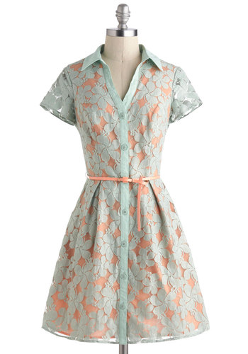 Summer Study Break Dress - Coral, Buttons, Lace, Belted, Pastel, Shirt Dress, Collared, Short, Mint, Daytime Party, Fit & Flare, Short Sleeves, Vintage Inspired, 50s