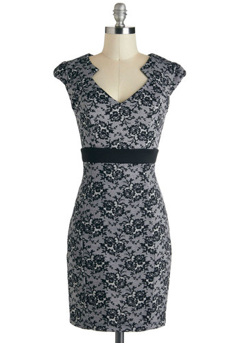 Smash Hit Showgoer Dress - Mid-length, Black, White, Floral, Party, Cap Sleeves, Grey, Cocktail, Holiday Party, Film Noir, Vintage Inspired, 40s, Sheath / Shift, Pinup