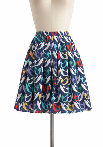 On The Wings Of Doves Skirt - Multi, Red, Yellow, Green, Blue, White, Print with Animals, Pleats, Mini, Short, Pockets, Casual, Pinup
